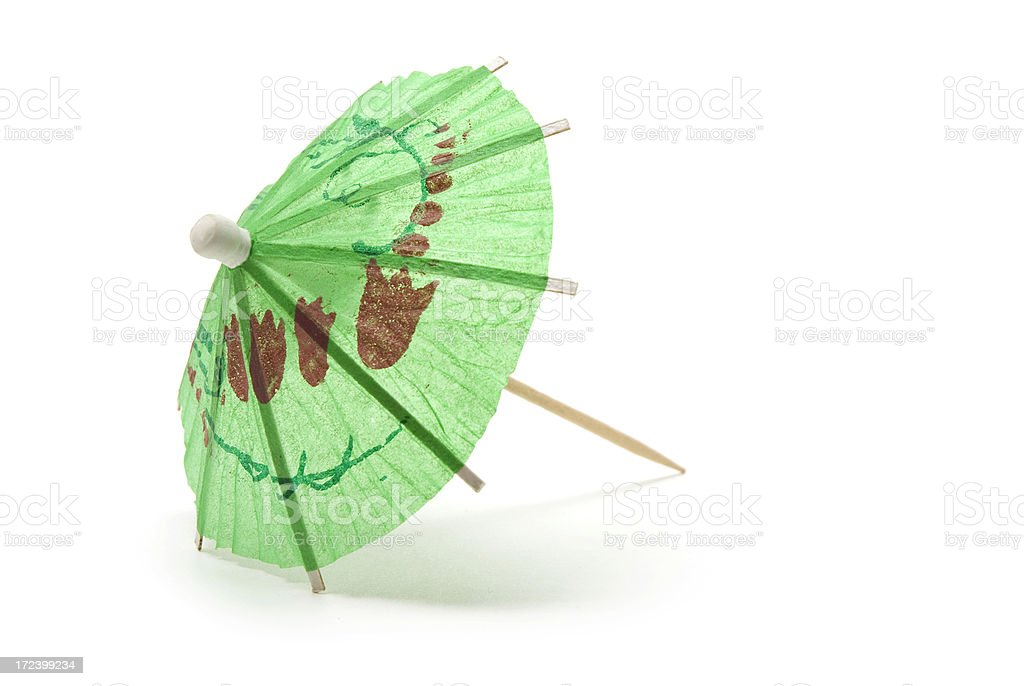 Green Cocktail Umbrella stock photo
