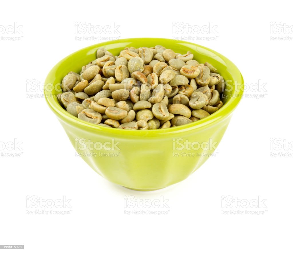 green coffee beans in bowl royalty free stockfoto