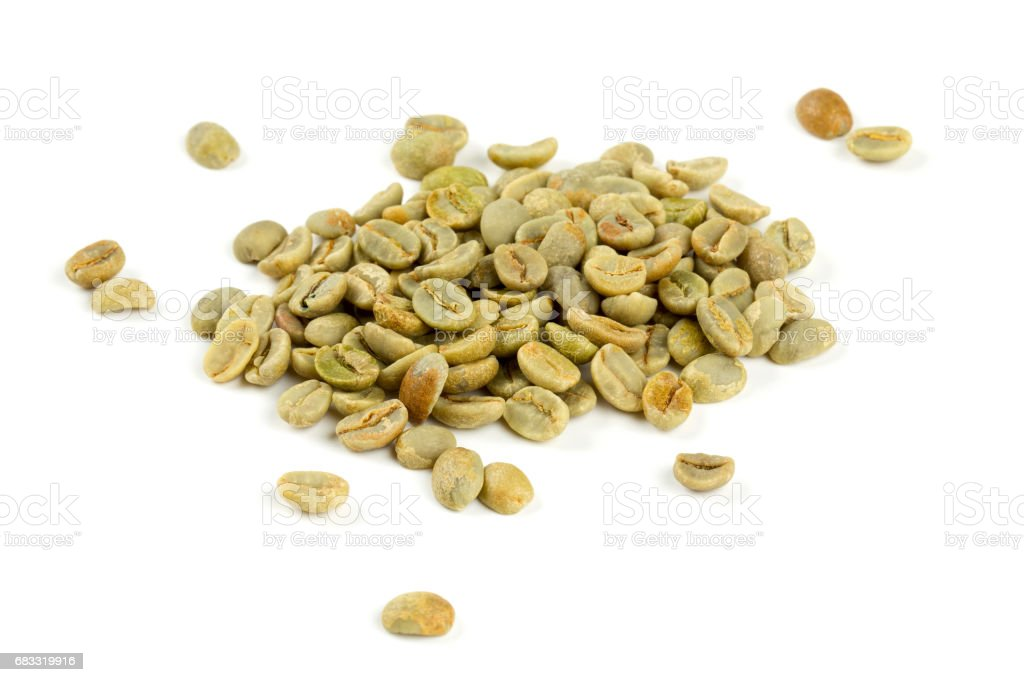 green coffee beans isolated on white background royalty-free stock photo