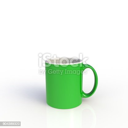 904387004 istock photo Green coffee cup isolated on white background. Close up with side view. Mock up Template for application design. Exhibition equipment. Set template for the placement of the logo. 3D rendering. 904389320