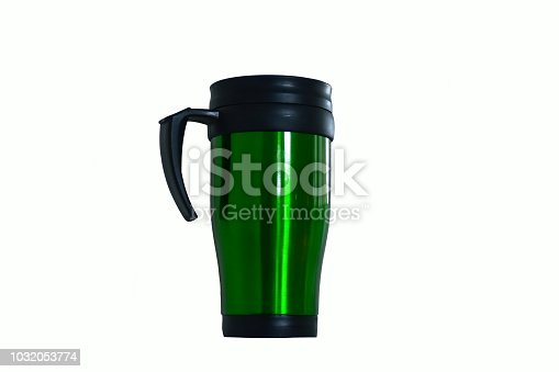 467147506 istock photo Green Coffee Cup Thermos isolated on white background 1032053774