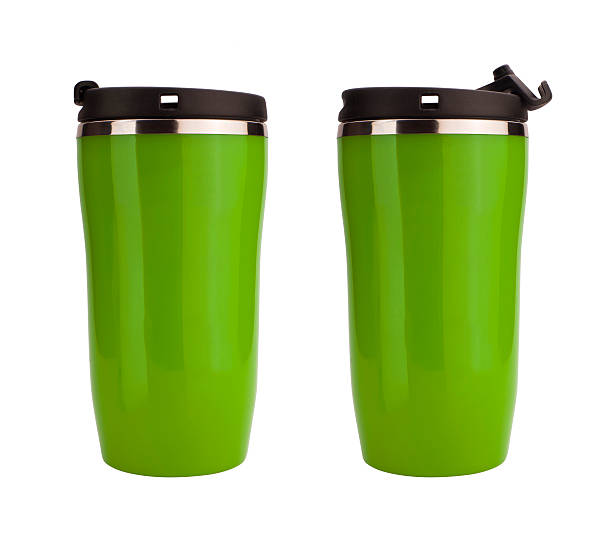 Green coffee flask isolated on white stock photo