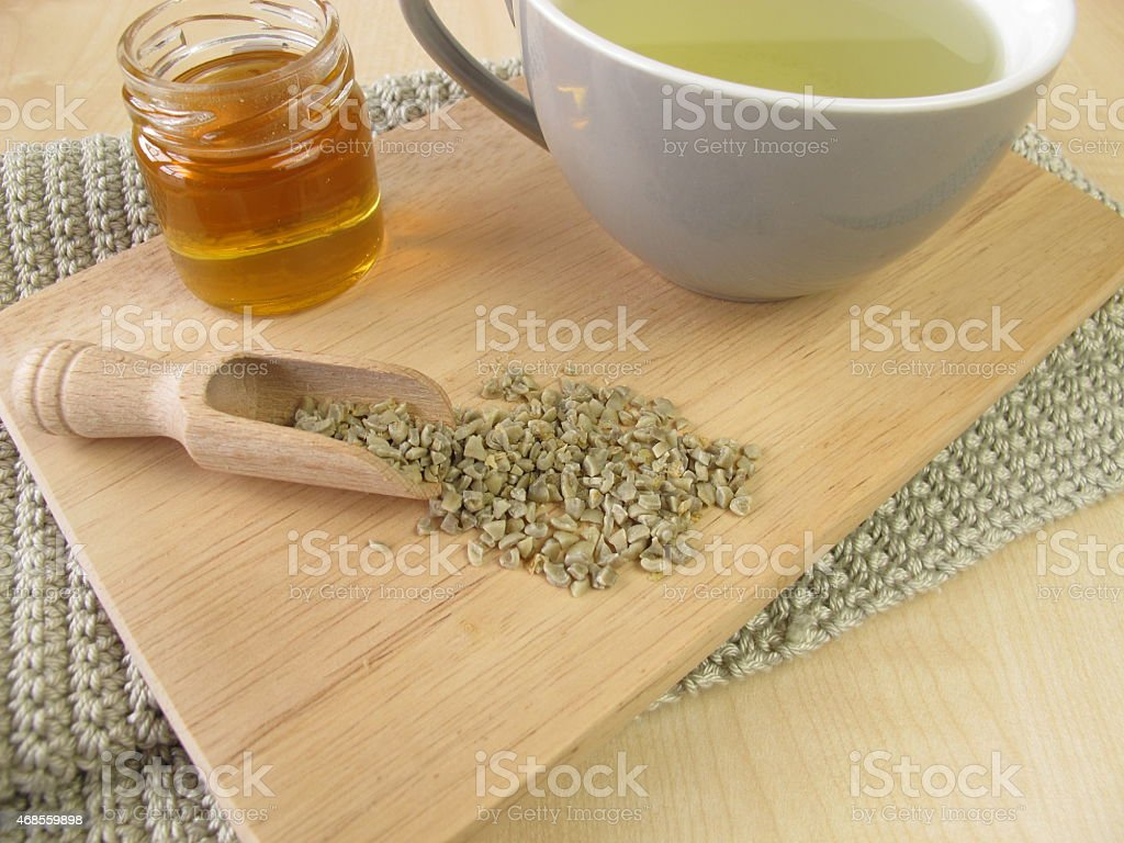 Green coffee with honey stock photo