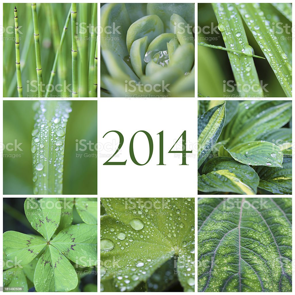 2014 green collage royalty-free stock photo