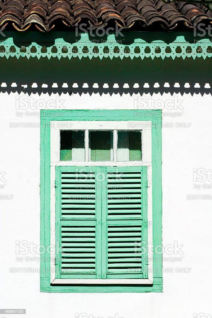 Green Colonial janela Pirenopolis Goiás Estado, Brasil foto royalty-free