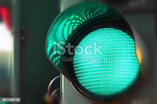 istock Green color on the traffic light. 831038750