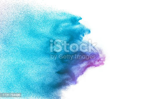 istock Green color sand explosion cloud on white background. Green dust splash. 1131754495