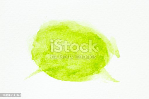847999586 istock photo Green color watercolor handdrawing as brush on white paper background 1083331160