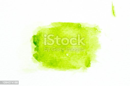 847999586 istock photo Green color watercolor handdrawing as brush on white paper background 1094074188