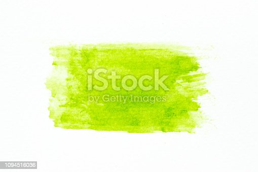 847999586 istock photo Green color watercolor handdrawing as brush on white paper background 1094516036