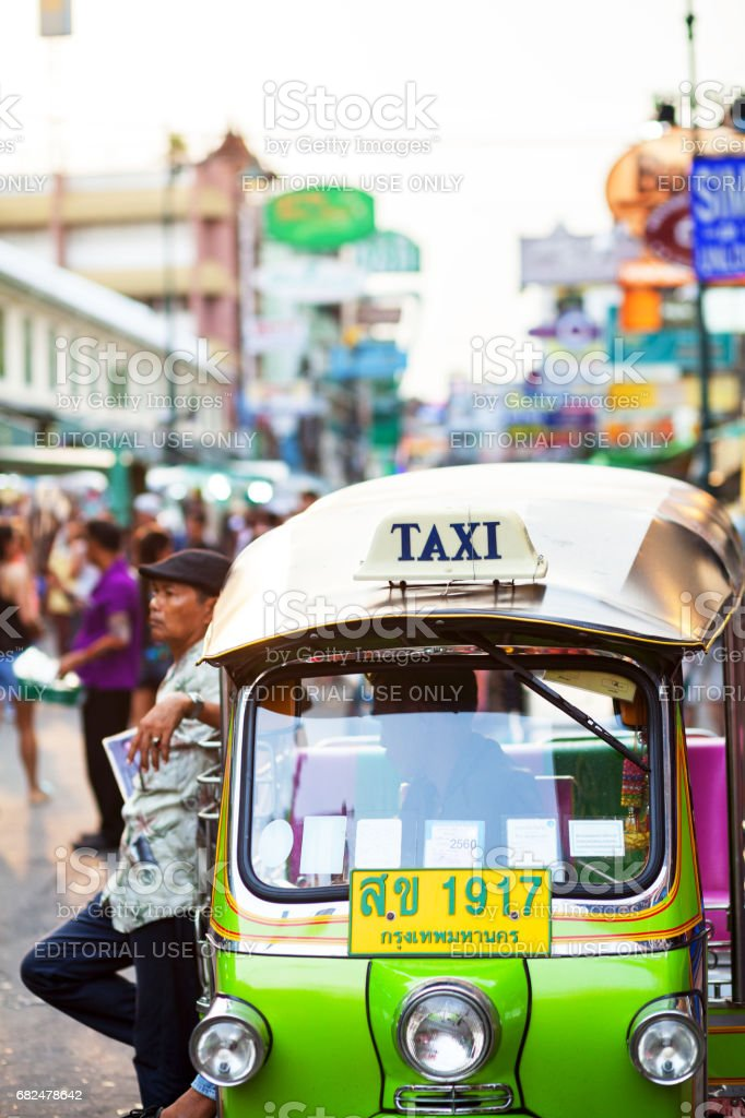 Green colored tuktuk in Khao San Road royalty-free stock photo