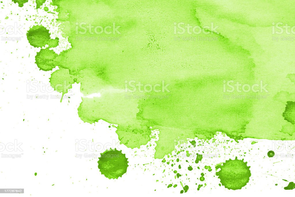 Green colored white page on watercolor stock photo