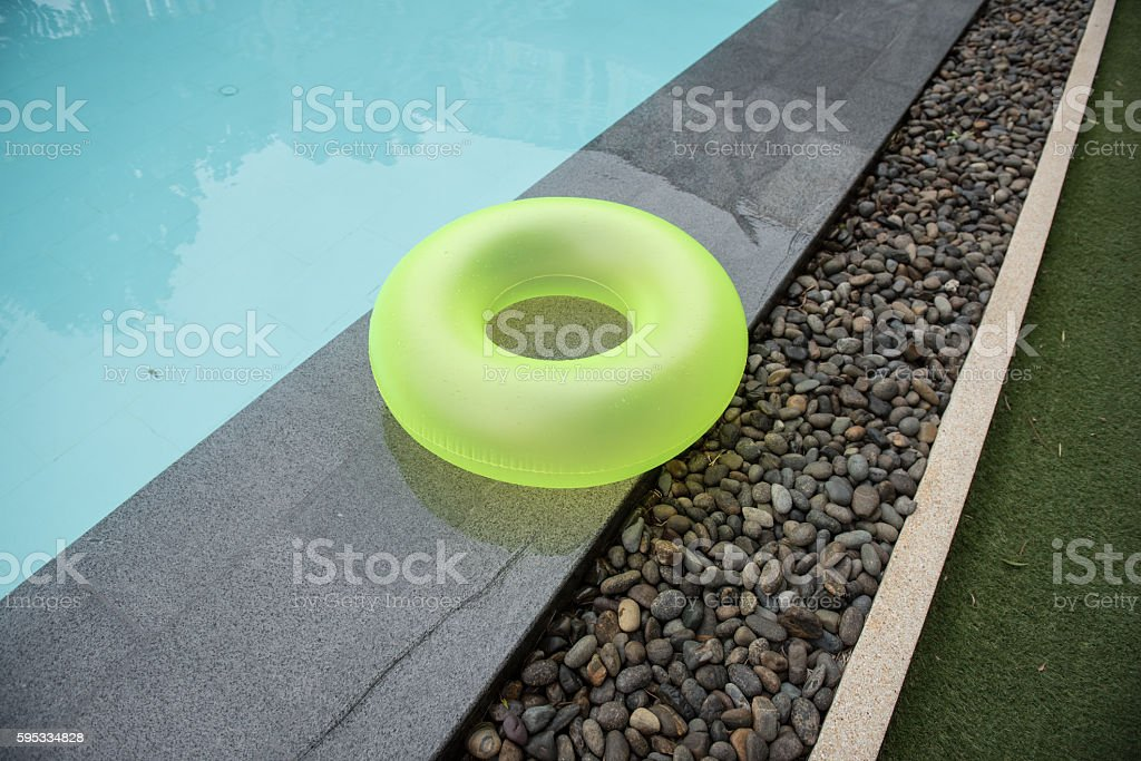 Green Colorful Ring Pool for kid stock photo