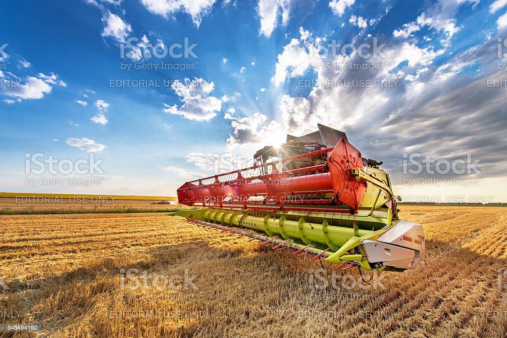 Green combine. stock photo