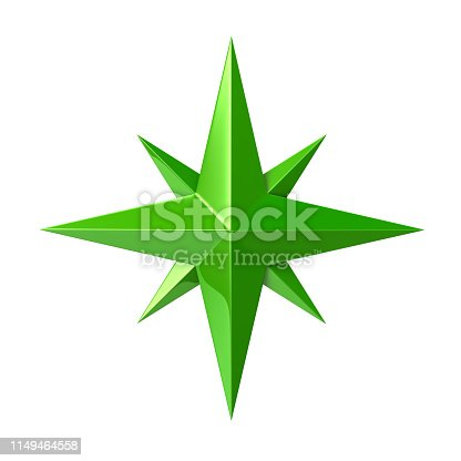 istock Green compass rose 3d illustration 1149464558