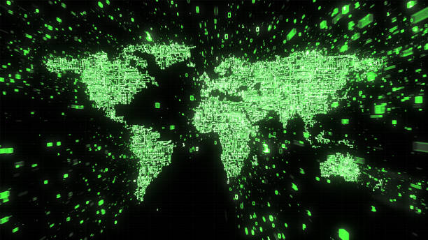 green computer circuitry world with streams of binary data - capacitor stock photos and pictures