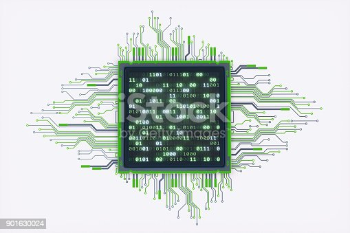 istock Green CPU With Binary Numbers 901630024