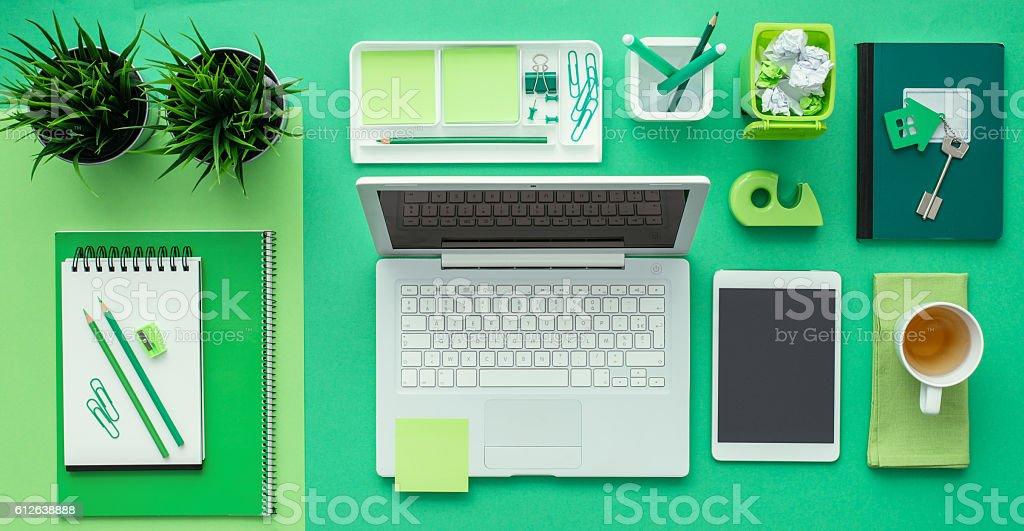 Green creative desktop stock photo