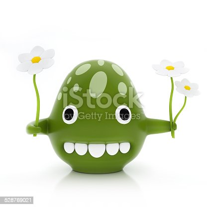 istock Green Creature Giving Flowers, Isolated on White Background 528769021