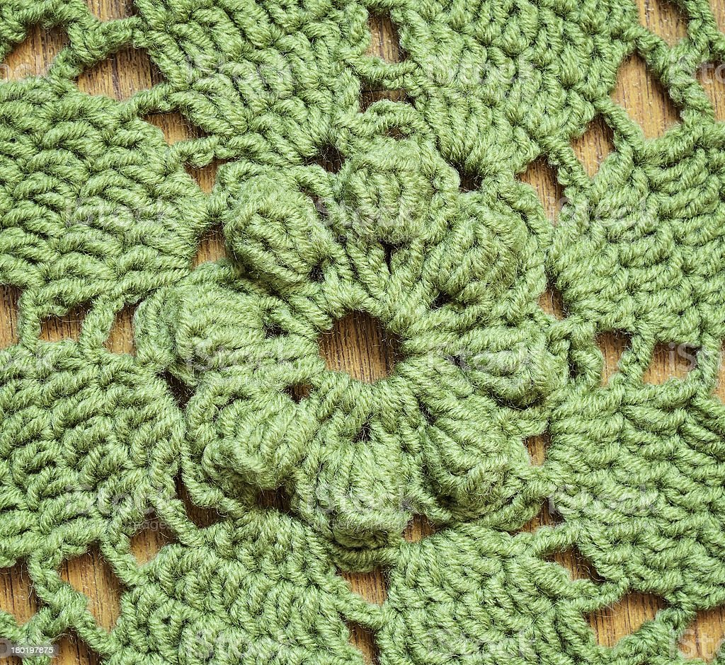 Green crochet background royalty-free stock photo