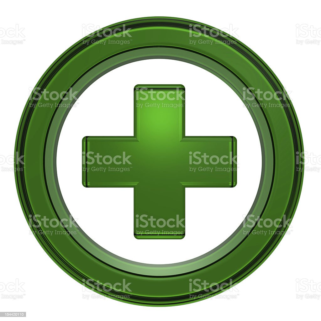Green cross in the circle isolated on white stock photo