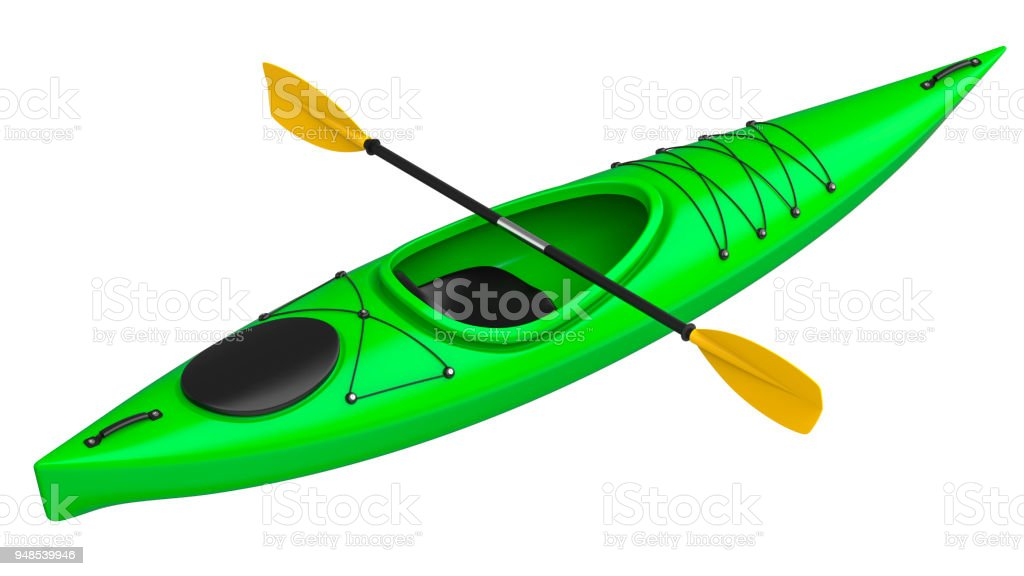 Green crossover kayak with yellow paddle. 3D render, isolated on white background. stock photo