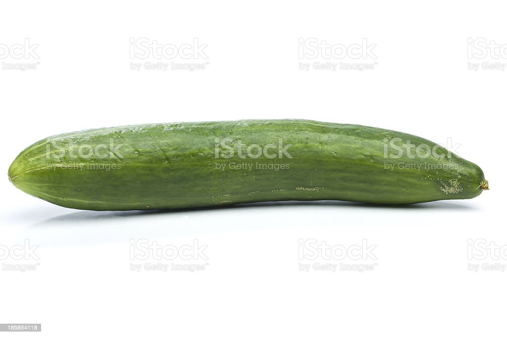 Green cucumber, isolated on white royalty-free stock photo