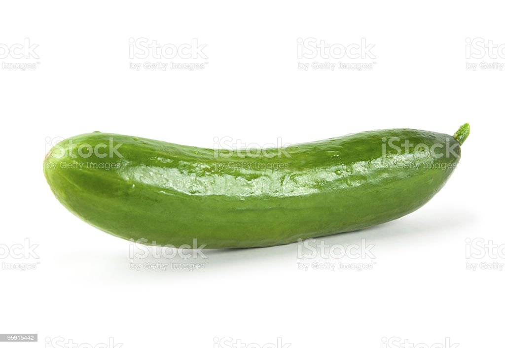 Green cucumber on white background stock photo
