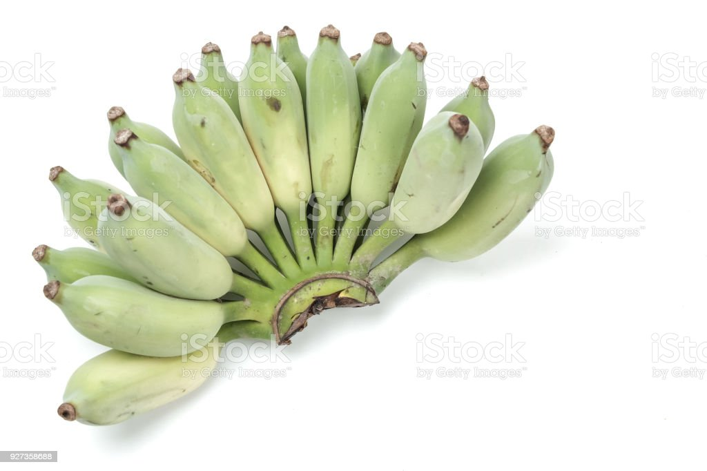 green Cultivated banana on white - Royalty-free Agriculture Stock Photo
