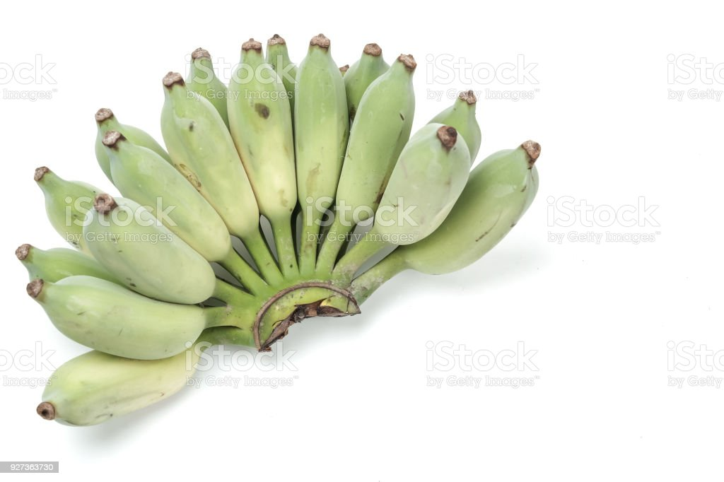 green Cultivated banana on white green Cultivated banana on white Agriculture Stock Photo