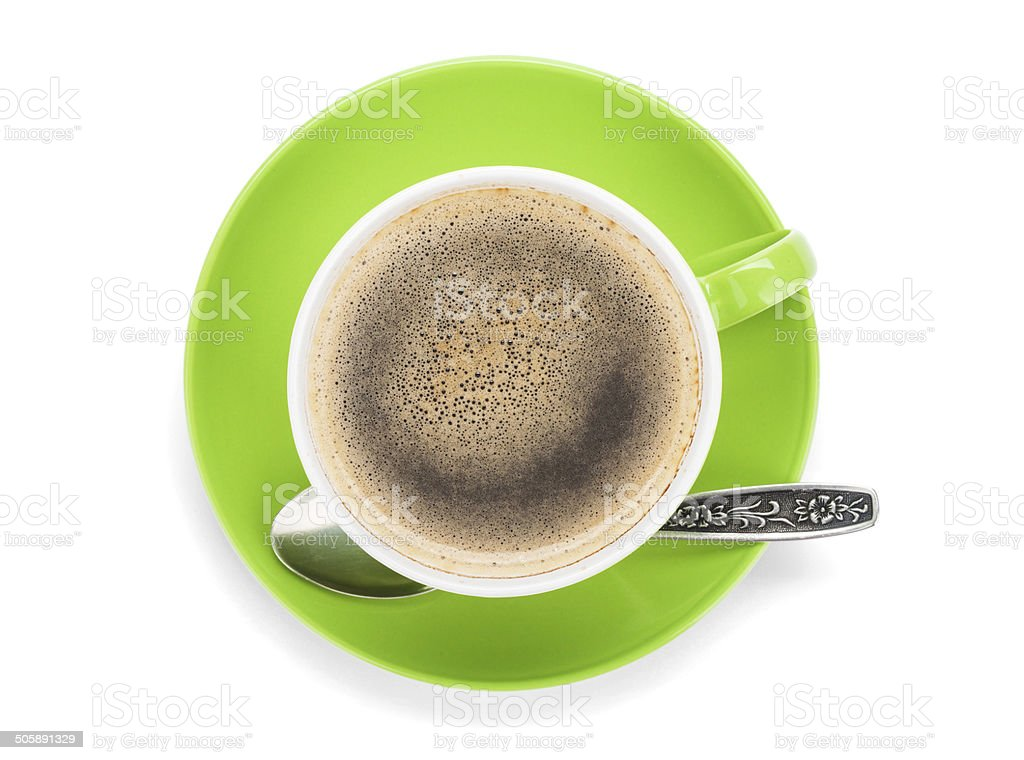 Green cup of coffee stock photo
