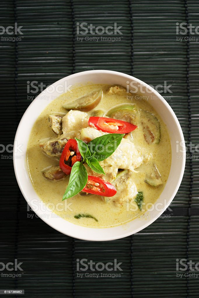 green curry chicken,thai food stock photo