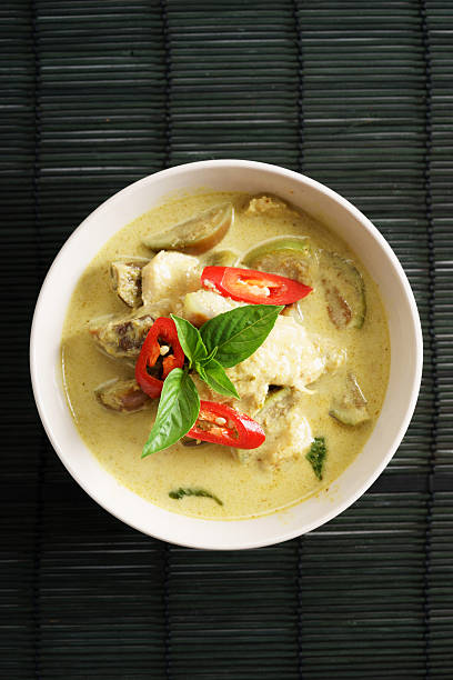 green curry chicken,thai food - thai culture stock photos and pictures