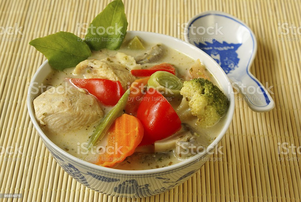 Green curry with chicken royalty-free stock photo