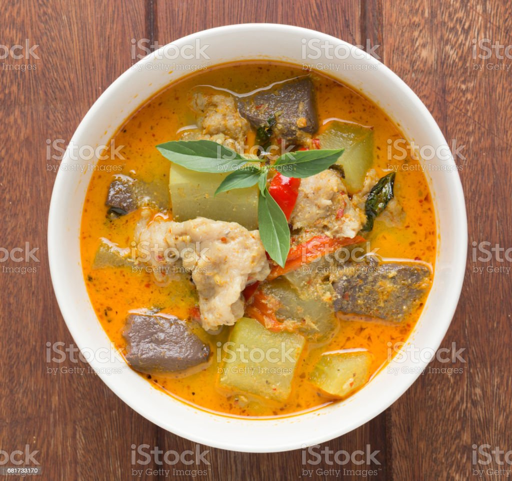 Green Curry with Fish - Gang Kiew Wan stock photo
