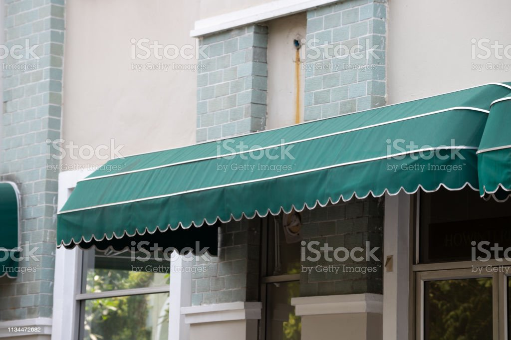 Green Curve Awning Over Office Door Green Shading Canvas Stock Photo Download Image Now Istock