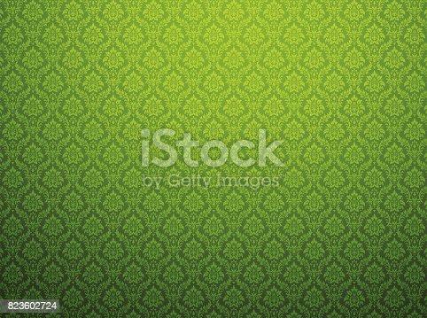 istock Green damask pattern background 823602724