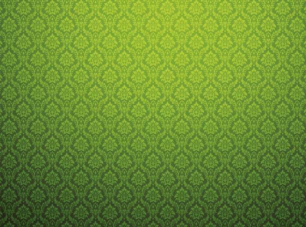 impression de fond vert damassé - damas en matière textile photos et images de collection