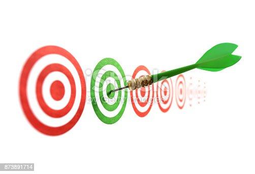 istock Green dart in target 873891714
