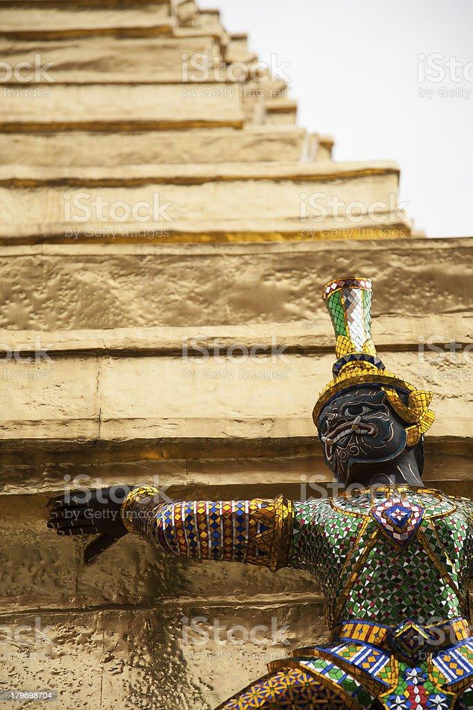 green demon guardian sculpture protect gold pagoda royalty-free stock photo