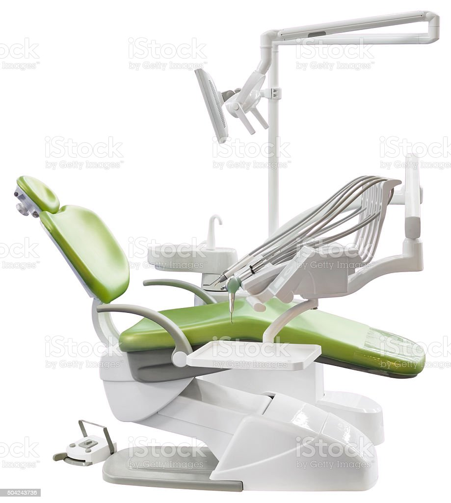 Green Dentist Chair Cutout stock photo