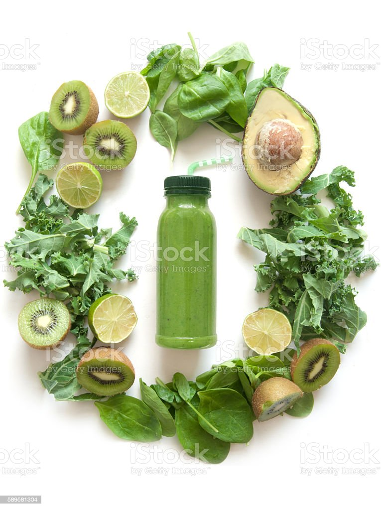 Green detox smoothie stock photo