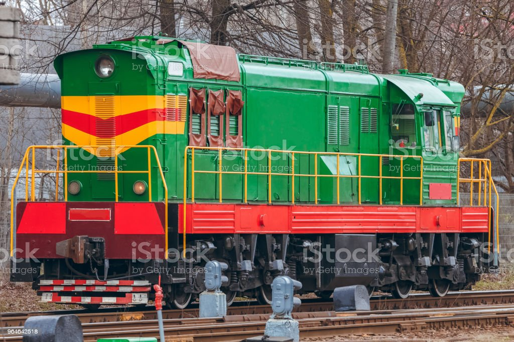 Green diesel locomotive royalty-free stock photo