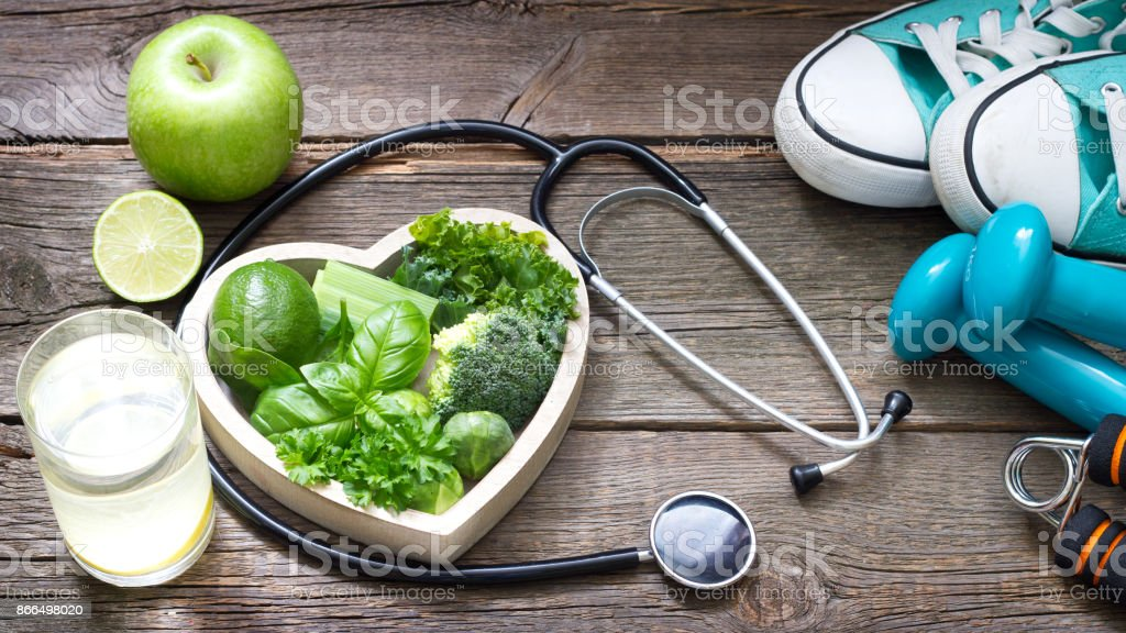 Green diet and sport healthy lifestyle concept stock photo