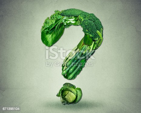 istock Green diet questions concept as a group of fresh fruit and vegetables in the shape of a question mark 671395104