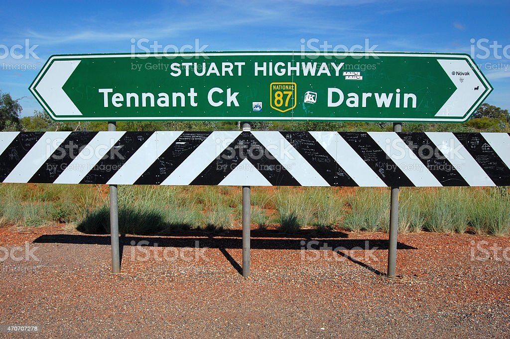 Green direction road sign at highway Australia stock photo
