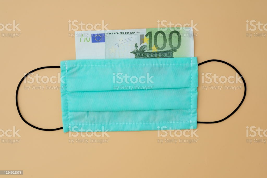 Green Disposable Face Mask With Black Elastic Bands 100 Euro Bill