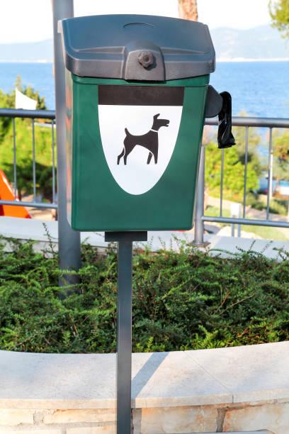 Recipiente de resíduos de cão verde em um complexo perto do mar turístico / lixo público pode para cão resíduos cocô sinal recipiente de lixo do cão do animal de estimação lixo / resíduos Pet bin estações. Vista na vertical, ao ar livre. - foto de acervo
