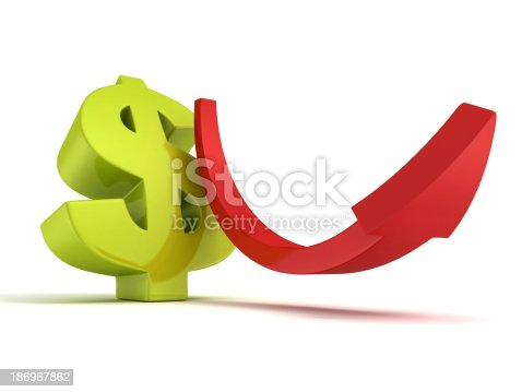 831745600istockphoto green dollar currency sign with growing up red arrow 186967862