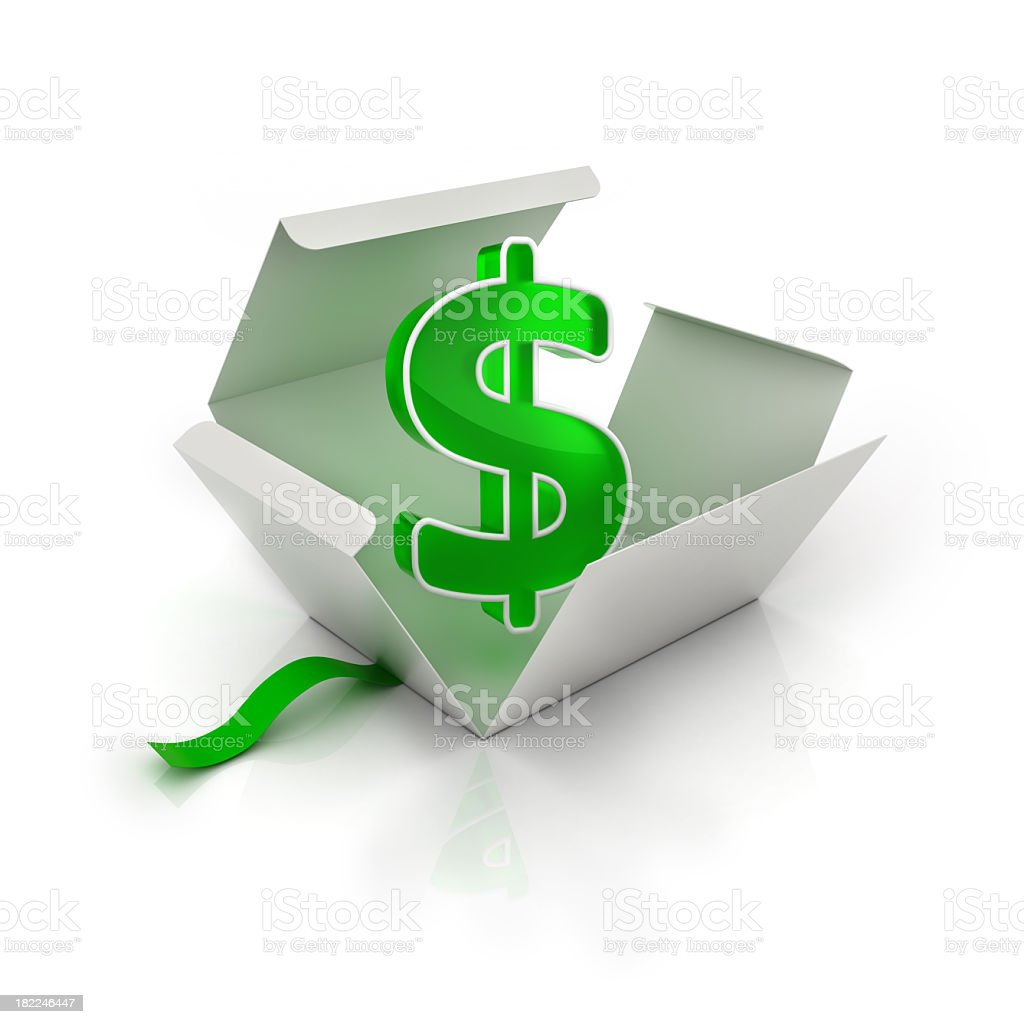 Green dollar sign in white opened gift box stock photo